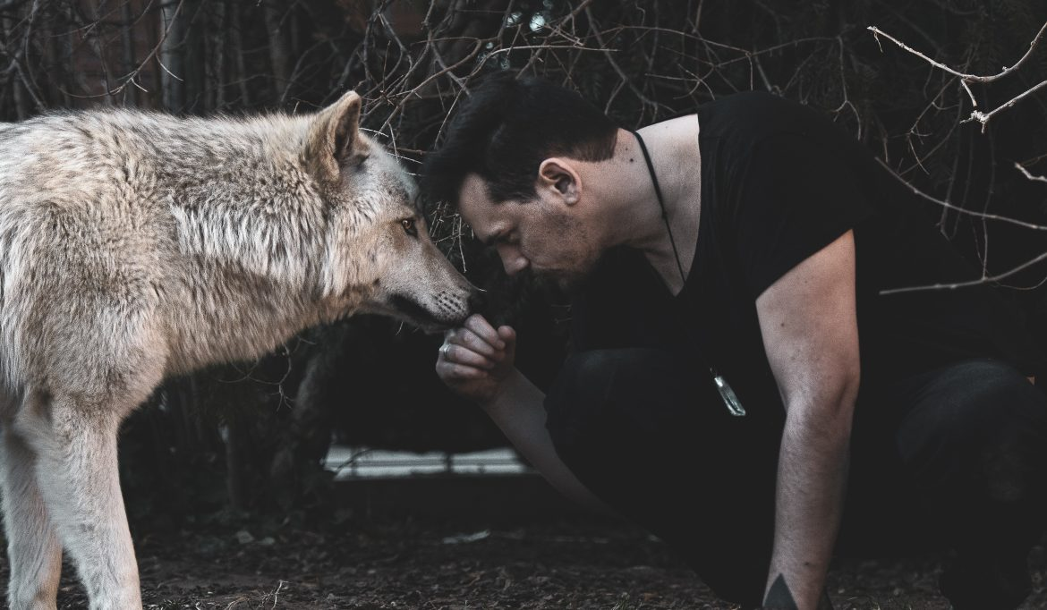 Nihil Young with wolf
